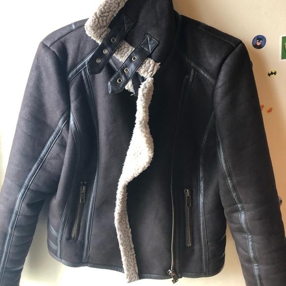 the bay Jackets & Blazers - dark brown sherpa jacket